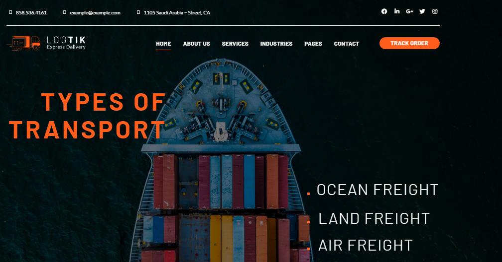 Logtik Logistics Cargo and Transportation WordPress Theme