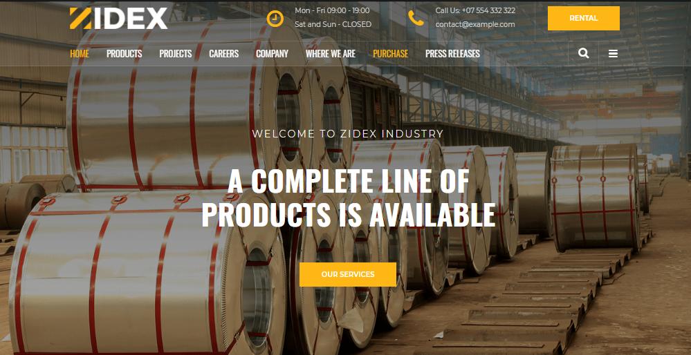 Zidex Industrial WordPress Theme